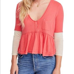 Free people color block heart of mine cotton top